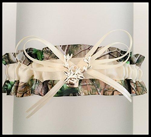 Camouflage Ivory Satin Wedding Keepsake Camo Bridal Garter - Deer Head Charm