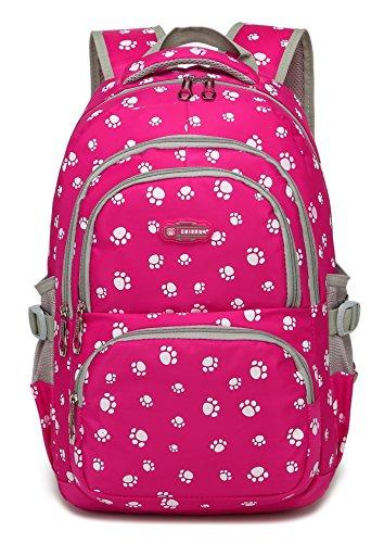 Girls School Backpacks for Kids Primary School Bags Bookbags for Children (Rose Red 2)