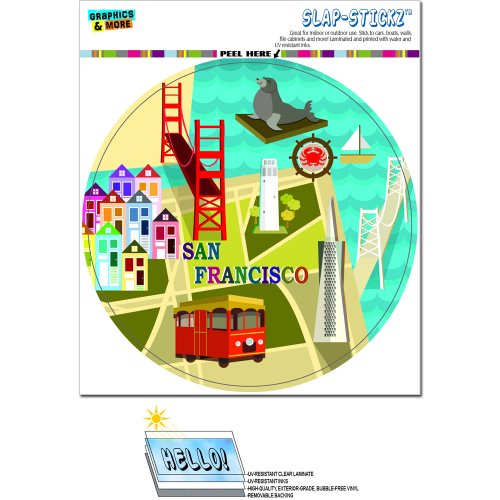 San Francisco - Golden Gate Bridge Bay Transamerica Pyramid Pier 39 Coit Tower Sea Lion Circle SLAP-STICKZ(TM) Automotive Car Window Locker Bumper Sticker (Pier Golden)