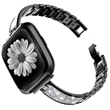 TOYOUTHS Stylish Bracelet Compatible with Fitbit Versa/Versa 2 Bands for Women Slim Strap Replacement Wristbands for Versa Lite Special Edition Stainless Steel Metal+Leather Bangle Accessories