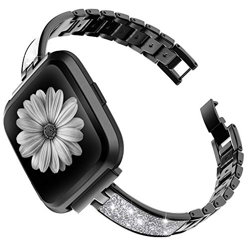 TOYOUTHS Stylish Bracelet Compatible with Fitbit Versa/Versa 2 Bands for Women Slim Strap Replacement Wristbands for Versa Lite Special Edition Stainless Steel Metal+Leather Bangle Accessories Black