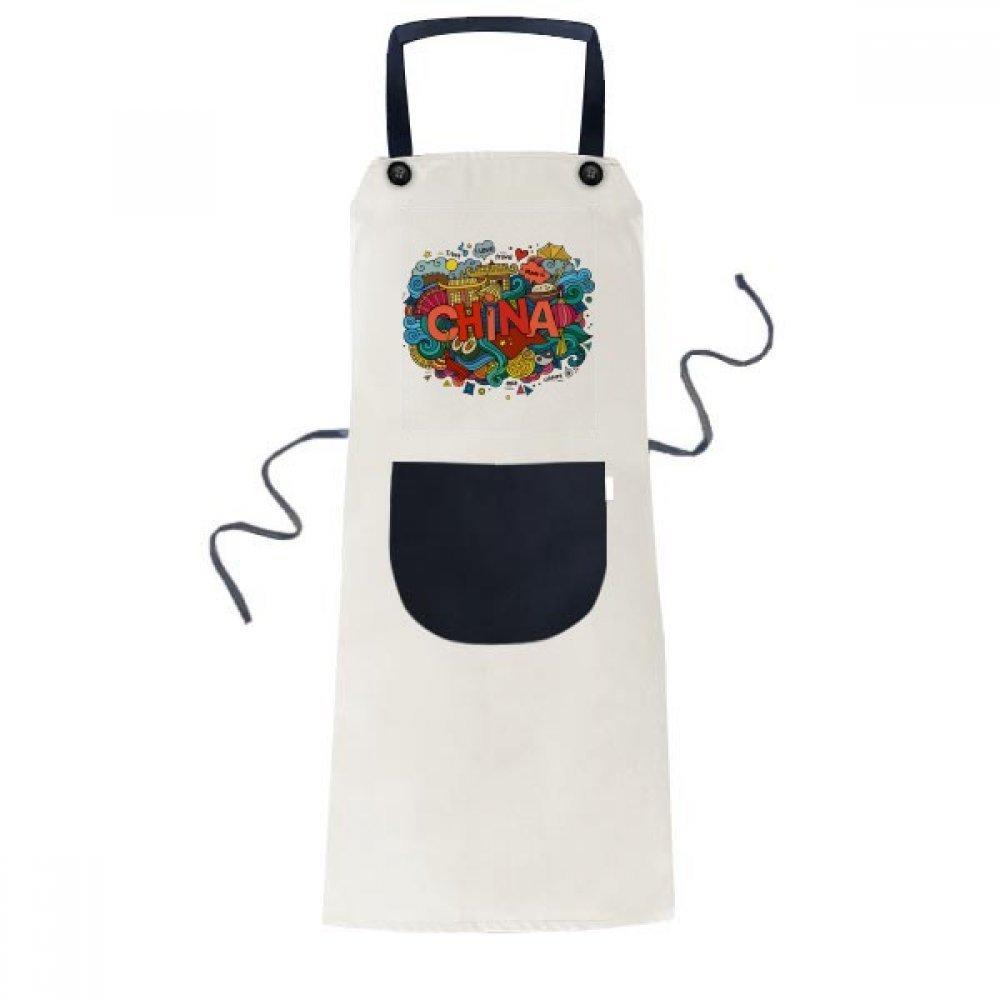 DIYthinker Made In China Asia Chinese Travel Art Apron Cooking Bib Black Kitchen Pocket Women Men
