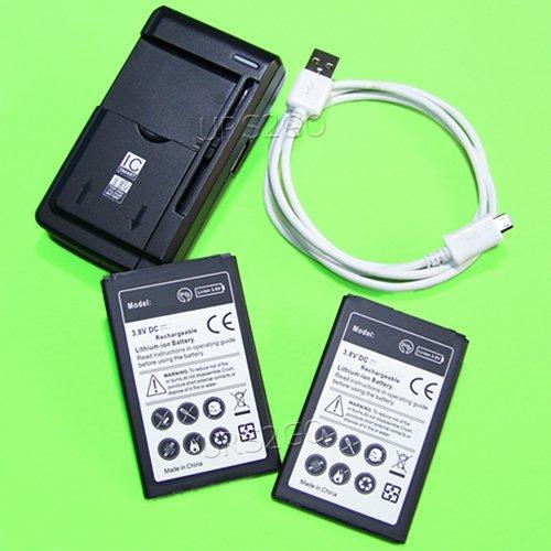 2x 2400mAh Replacement Li-ion Battery Universal Hone Charger Data Sync Cable for Verizon LG Transpyre VS810PP Smart Phone ()