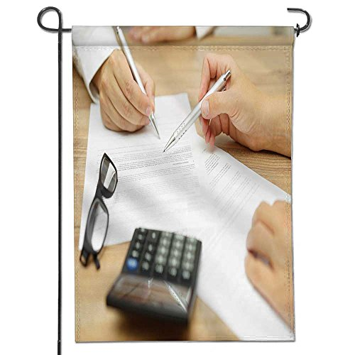 Scocici1588 Garden Flag Double Sided Businesswoman Is Explaining Terms And Conditions In Agreement To His Client Before He Sign The Document Best For Party Yard And Home Outdoor Decor 12  X 18