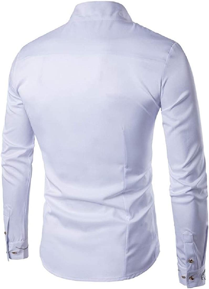 Mens Button-Down-Shirts Embroidery Woven Tops Slim Dress Shirts