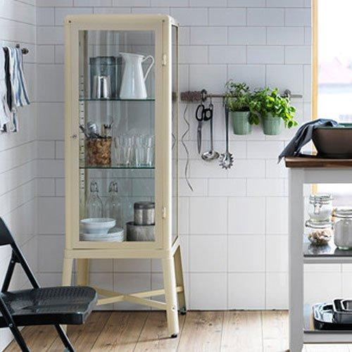 Amazon.com: Ikea Fabrikor Glass Door Cabinet , Beige , Lockable ...