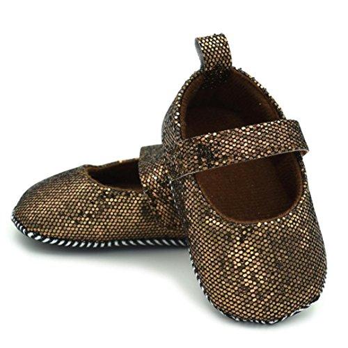 Clode® Neugeborene Kleinkind Baby Säuglings Mädchen Schuhe Nette weiche Sequins Anti Rutsch Schuhe (3-6 Monat, Braun)