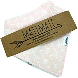 Matimati Baby Bandana Bib Set of 4 for Girls, 100% Organic Super Absorbent Drool Bibs (Blush Pink Arrows)