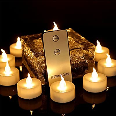 Dellukee Flameless Candles With Remote Control 12 Pack Warm White Flickering Battery Operated Cute LED Tea Lights Candle For Wedding Halloween Christmas Party Decoration