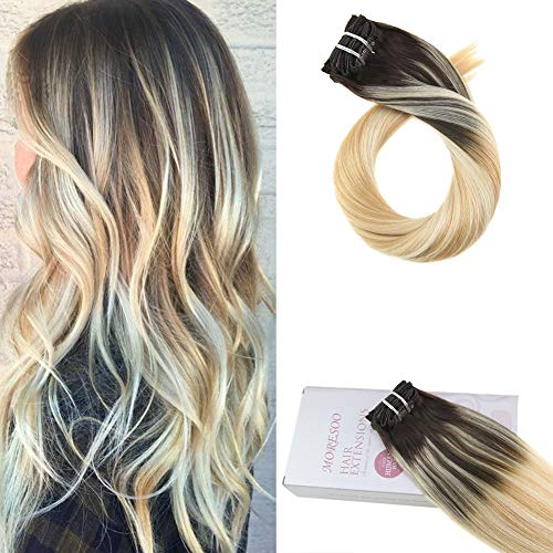 Moresoo 24 inch Remi Clip on Human Hair Double Weft Full Head Hair Extensions Brown to Caramel Blonde and Blonde 120g/pack Balayage Colored Human Hair Exensions Clip on (Dark Brown Hair To Caramel Colored Hair)
