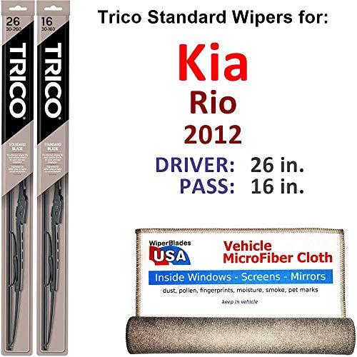 Wiper Blades for 2012 Kia Rio Driver & Passenger Trico Steel Wipers Set of 2 Bundled with Bonus MicroFiber Interior Car - Wiper Kia Rio