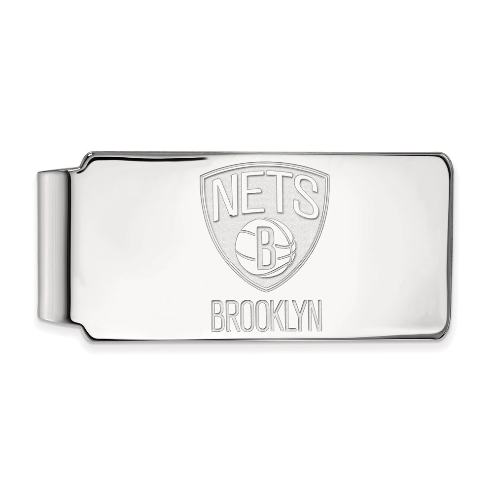 NBA Brooklyn Nets Money Clip in Rhodium Plated Sterling Silver by LogoArt