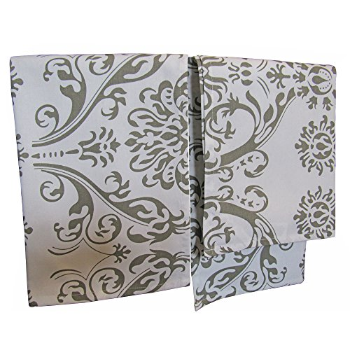 Crabtree Collection Premium Quality Set Of 2 Kitchen Dish Towels by 100% Cotton Absorbent Tea Towels - Classy Gray Damask Design - Ideal 18