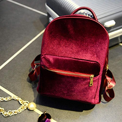 Red Velvet Kemilove Gold Bag Shoulder School Girls Women Backpack Gold Velvet gwqvg7x