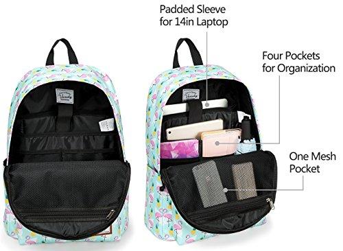 School Backpacks for Girls,Vaschy Cute Lightweight Water-Resistant w 14in Padded Laptop Sleeve in Pineapple Flamingos by Vaschy (Image #1)