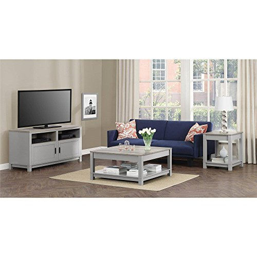 Langley Bay Bundle with Coffee Table, TVs Stand and End Table in Soft Gray Finish, Bundle Set - (3 Piece) 3 Piece Set Tv Stand