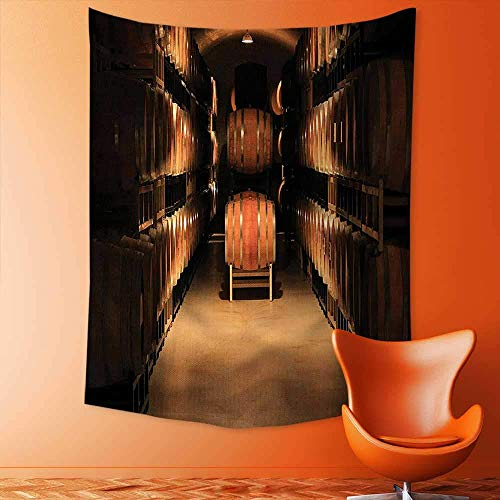jjdncjdhf11 Psychedelic Tapestry Wine Barrel Stacked in Cellar Aged Old Fermenting Quality Container Storage Basement Image Tapestries Wall Hanging Tapestry for Bedroom Living Room Dorm 100x150 cm