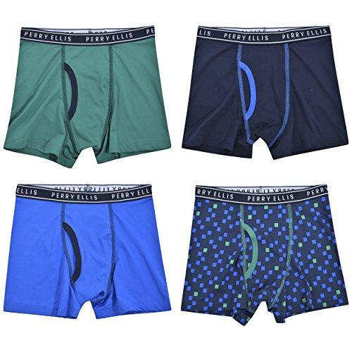 Perry Ellis Boys 4 Pack Tech Tagless Boxer Briefs,Dk Sapphire/ Marine Green/Print/Victoria (Perry Ellis Spandex Briefs)