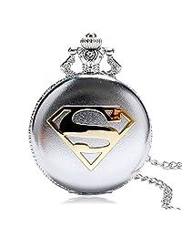Nextstart Fashion Silver Copper Superman Pocket Watch Clock Chian Necklace Pendant Watch