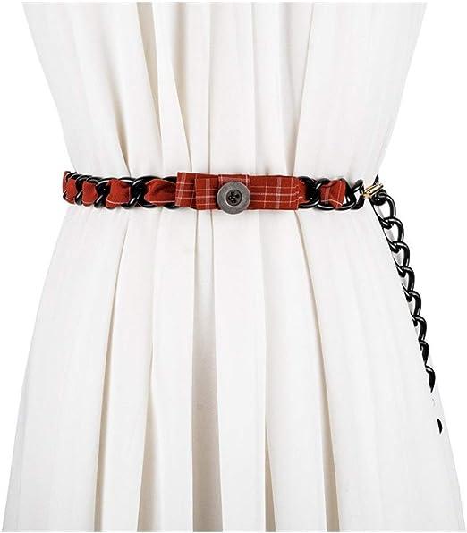 Yhui Cinturón Señoras Mujer Cadena Moda Plaid Cintura Cadena con ...