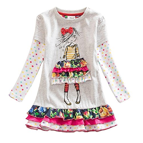 VIKITA Girls Cotton Flower Long Sleeve Casual Dress LH3660GRAY 4-5 Years -