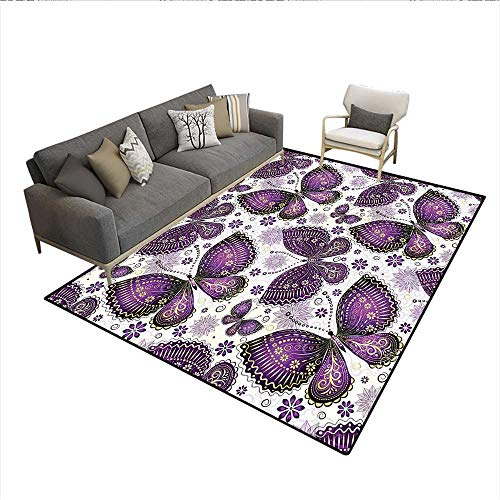 Carpet,Ethnic Asian Butterflies with Paisley Motif on Wings Flowers Art Print,Indoor Outdoor Rug,Plum Purple Lilac White 6'x8' (Butterfly Paisley Rug)
