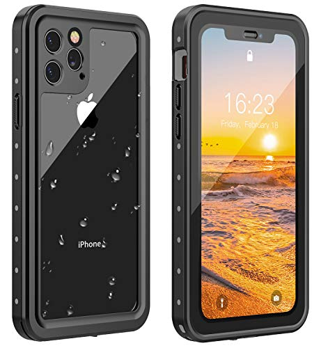 ANTSHARE iPhone 11 Pro Waterproof Case 2019 Full Body Protective IP68 Underwater Shockproof Dirtproof Sandproof Waterproof Case for iPhone 11 Pro(5.8') (Black/Clear)