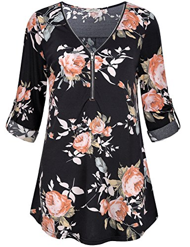 Vintage Print V-neck Tee (SeSe Code Peasant Blosues, Womens Floral Print Top Petite Boho Long Sleeve Shirt Zip Up Tees V Neck Vintage Chic Flowy Rose Sleek Rolled Up Fresh Draped Relaxed Fit Customize Trapze Tunic Black-2 M)