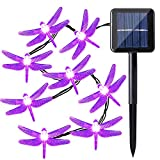 Qedertek Dragonfly Solar String Lights, 20ft 30 LED Waterproof Halloween Decoration Lighting for Indoor/Outdoor Home, Patio, Lawn, Garden, Party, Holiday (Purple)