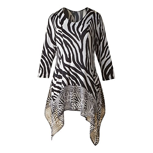 CATALOG CLASSICS Women's Tunic Top - Black & White Zebra Safari Print Flutter Hem Blouse - XL (Zebra Print Tops)