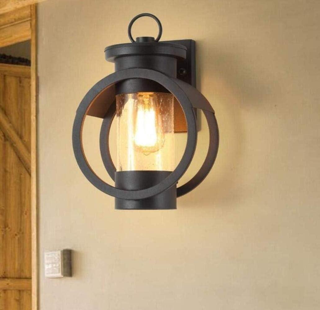 壁面ライト レトロクリエイティブ壁ランプ屋外の防水ウォールライト素朴なスタイルガーデンライトグラスランプシェードランプアイアンボディ、ブラック、暖かいです