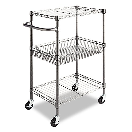 Alera 3-Tier Wire Rolling Cart, 16 by 26 by 39-Inch, Black Anthracite (Food Cart On Wheels compare prices)
