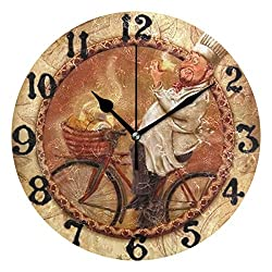 DoubleCW Italian Chef Kitchen Decor Vintage Wall Clock Shabby Wooden Large Round Non-Ticking Quiet Battery Operated Wall Clock Italian Ktchen Decor