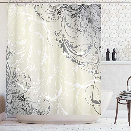 Ambesonne Floral Shower Curtain, Baroque Swirled Branches Curved Flower Leaves Elegance Shabby Chic Pattern, Fabric Bathroom Decor Set with Hooks, 84 Inches Extra Long, Eggshell White