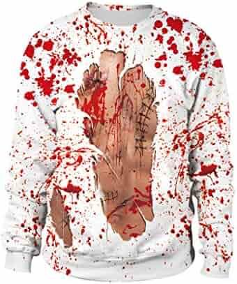 Kingfansion Mens Sweatshirts Autumn Casual Halloween Print Crew Neck Long Sleeve Pullover Tops Blouse