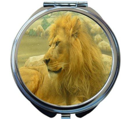 Rikki Knight Beautiful Lion King Close-Up Design Round Compact Mirror by Rikki Knight
