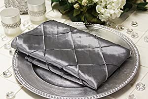 Pintuck Silver Taffeta Dinner Napkins Set of 10