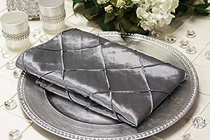 Pintuck Silver Taffeta Dinner Napkins Set of 10