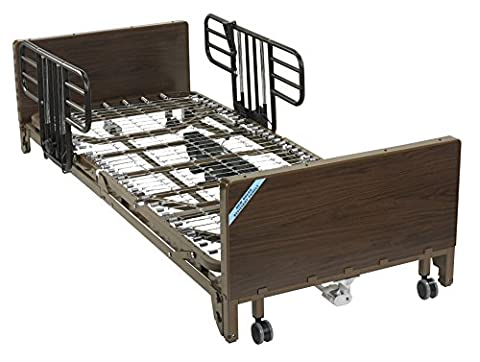 Drive Medical Delta Ultra Light Full Electric Low Hospital Bed Mattress, Half Rails & Innerspring - Half Bed Rails