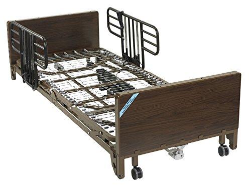 Drive Medical Delta Ultra Light Full Electric Low Hospital Bed Mattress, Half Rails & ()