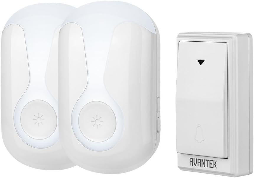 DB-LA Black 36 Melodies to Choose From 2 Plug-in Receivers 4 Volume Levels Wireless Doorbell CECOMINOD046487 Operating at 300 Meters AVANTEK Waterproof Chime Kit