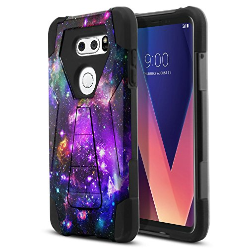 LG V30 6 inch Case, Fincibo (TM) Hybrid Transformer Dual Layer Protector Cover Gel Silicone With Stand Kickstand, Purple Marvel Nebula Galaxy