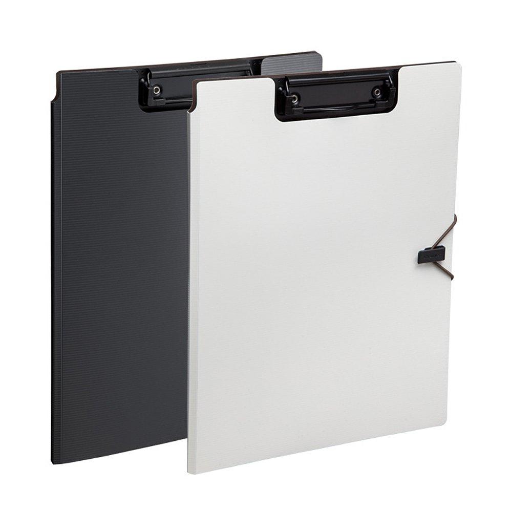 Zhi jin cartelle A4/Foldover cartelle portadocumenti Portablocco organizer con fascia elastica ufficio Business White