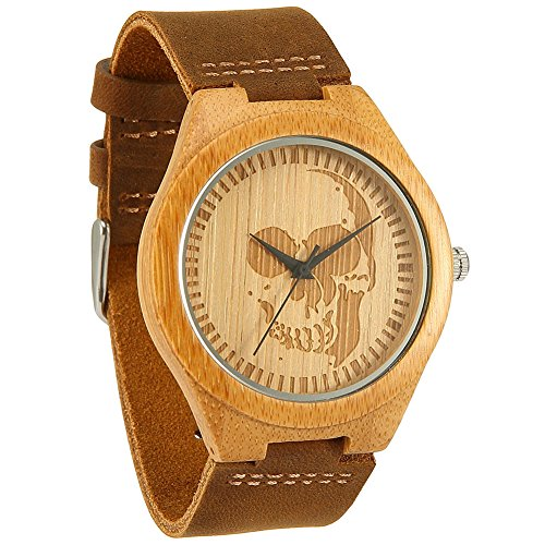 Wonbee Bamboo Wood Watches for Men & Women Cowhide Leather Strap,Bonus 2 Wood Bracelets,Packaged in Gift Box