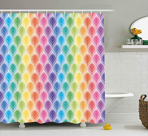 Trippy Decor Shower Curtain by Ambesonne, Rainbow Colors Abstract Gradient Toned Leaf Pattern Digital Soft Pastel Design, Fabric Bathroom Decor Set with Hooks, 70 Inches, Multi