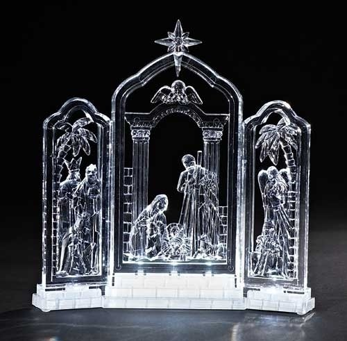 10''H LED Lighted Nativity Tryptic Battery Operated Without Batteries by Roman