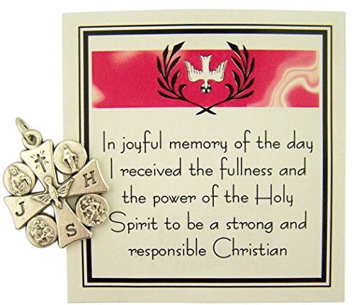 Silver Tone 4-Way Holy Spirit Confirmation Cross Medal with Prayer Card, 1 Inch