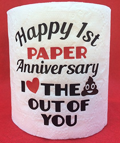 B-Gal Boutique Funny Happy 1st Paper Anniversary I Love the Krap Out Of You Toilet Paper Gag Gift First Novelty Poop Emoji
