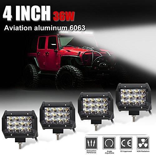 LED Light Bar 4 Inch 4PCS 36W Driving Light Waterproof Cree Chip Three Row for Off-road Truck Car ATV SUV Jeep Cabin Boat,Colight 9632-4 inch