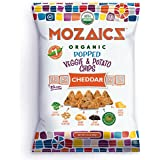 Mozaics Organic Popped Veggie & Potato Chips- Healthy snack, under 100 calories, better than veggie straws or stix - gluten free - 3.5oz big bags (Cheddar, 8-count)